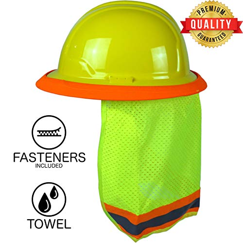 BEST EVER Pro Hard Hat Sun Shade. Premium Neck Shield with Secure-Fit Fasteners & Built In Sweat Towel. Fits Full & Standard Brim Safety Helmets. For Construction & Landscaping. Hard Hat Not Included]()