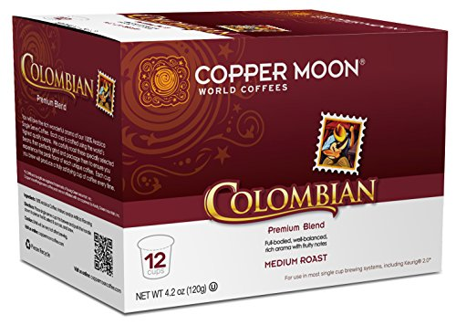 Copper Moon Single Cups for Keurig K-Cup Brewers, Colombian, 12 Count, Medium Roast Coffee, with A Full Bodied, Well Balanced, Rich Aroma, and Fruity Notes, Single-Serve Coffee Pods