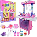Rexco Large Electronic Girls Pink 34 Piece Kitchen Cooker Hob Childrens Kids Toy Pretend Cooking Role Play Set Game With Light And Sound