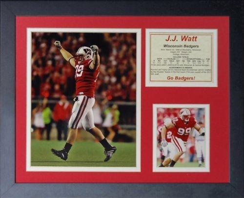 """Legenden Sterben Nie """"J. J. Watt Wisconsin"""" gerahmtes Foto Collage, 11 x 35,6 cm von Legends Never Die"""