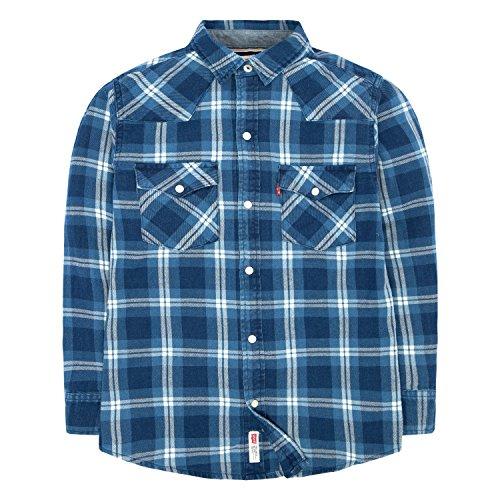 (Levi's Boys' Toddler Plaid Western Shirt, Dress Blues/Marshmallow,)