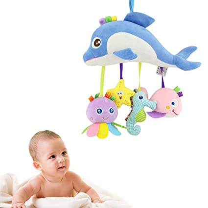 Baby Rattle Plush Fish Toys With Safety Mirror Toddlers Stroller Pram Crib Ornament Hanging Toy For Early Educational Activity Baby Rattles & Mobiles