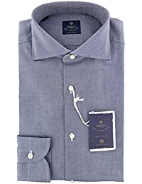 New Luigi Borrelli Blue Solid Extra Slim Shirt
