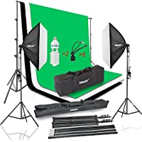 Emart 900W Photography Softbox Continuous Lighting Kit, 8.5x10ft Background Support System & Muslin Backdrop Screen (Green White Black) for Studio Photo, Portrait and Video Shooting