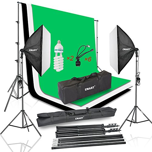 Emart Photo Video Studio Continuous Lighting Kit include Black White Green Chromakey Backdrops with Backdrop Holder Clips, 1050W Professional Softbox Light, 8.5x10ft Background Support System (Impact Background System Kit)