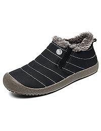Warm Snow Boots Men Women Slip On Fur Lining Boots Waterproof Thickening Winter Shoes Anti-Slip Outdoor Bootie