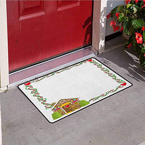 Gloria Johnson Kids Christmas Front Door mat Carpet Frame Featuring Sweet Candy Canes Hearts and a Gingerbread Cookie House Machine Washable Door mat W23.6 x L35.4 Inch Multicolor
