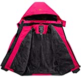 Wantdo Girl's Waterproof Skiing Jacket Thick Winter Raincoats Rose Red 10/12