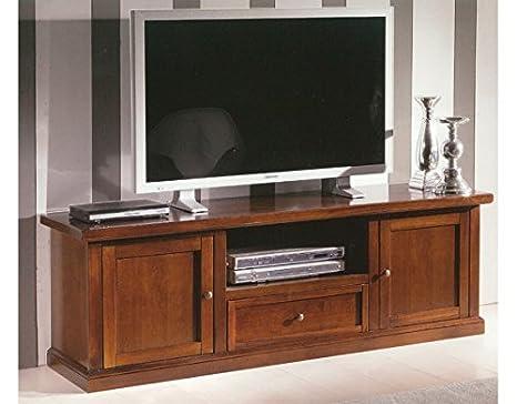 Porta Tv Legno Classico.Porta Tv In Legno Con 2 Porte E 1 Cassetto Da L160 P45h56