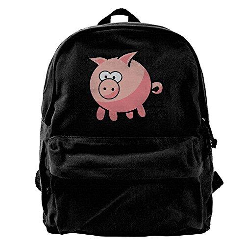 AHOOCUSTOM Caryoon Pink Pig Canvas Shoulder Backpack Men & Women Canvas Backpack School Laptop Bag Hiking Travel ()