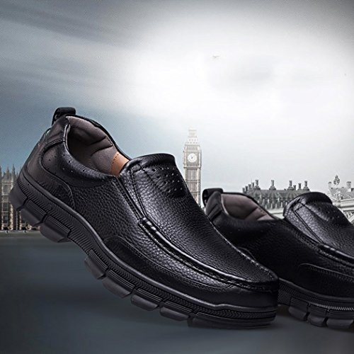 Autumn Melody Fashion Casual Business Genuine Leather Large Size Men Shoes Size 13 US Black by Autumn Melody (Image #4)