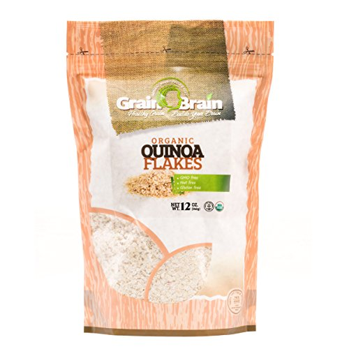 Grain Brain Organic Quinoa flakes (12oz x 2) Gluten Free, Vegan, Packed in resealable bags (Organic Quinoa Flakes)