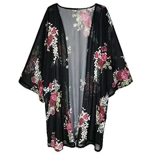 (BOSSAND Womens Floral Print Loose Puff Sleeve Kimono Cardigan Lace Patchwork Cover up Blouse (Small, New Black))