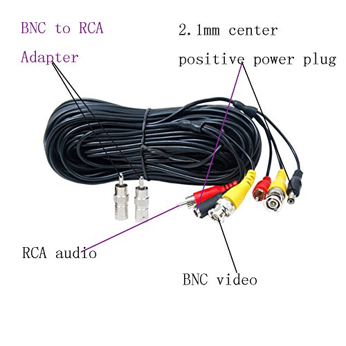 Amazon henxlco 4 pack 50 feet security camera video power cable amazon henxlco 4 pack 50 feet security camera video power cable pre made all in one bnc rca extension cable surveillance dvr cctv system cord wire publicscrutiny Image collections