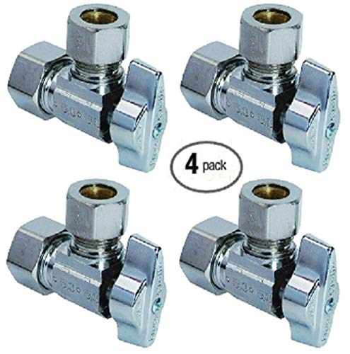 Compression Valve G2CR19L1X 1/2-in Nominal Comp x 3/8-in OD Outlet Chrome Plated Brass 1/4-Turn Angle Stop Valve with Outlet Sleeve/Nut - 100% Satisfaction Guarantee (4 Pack)