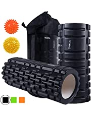 Eva Physio Foam Roller Firm Yoga Roller Set with Pilates Spiky Balls 9cm and 7.5cm Deep Tissue Hard Trigger Point Therapy For Knee,Leg,Back,Arm,Hand Relaxation After Sport
