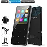 MP3 Player with bluetooth,MP3 Direct recording 16gb 2018 new article FM radio Alarm Clock headphones 1.8 in expandable Up to 128GB TF card pedometer, with an Armband, Recommended Black