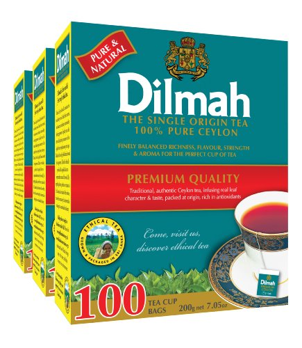 Dilmah Premium 100% Pure Ceylon Tea, 100-Count Tea Bags (Pack of 3) (Tea Highland Black Tea)
