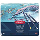 Derwent Colored Pencils, Inktense Ink Pencils, Drawing, Art, Metal Tin, 24 Count (0700929)