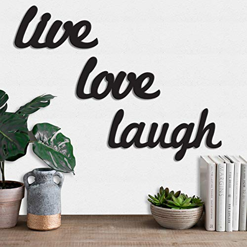 Art Street Live Love Laugh MDF Plaque Painted Cutout Ready to Hang Home Decor Wall Art, Black