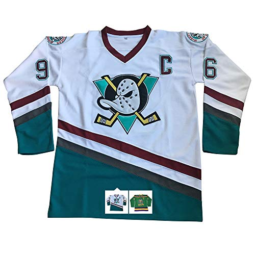 Charlie Conway #96 Mighty Ducks Ice Hockey Jersey S-XXXL (White, L)