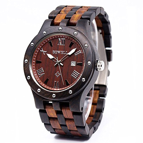 Tone Solid Two Watch Wrist (Bewell W109A Mens Wood Watches Two Tone Quartz Luminous Wristwatch with Date Display (Great Gift))