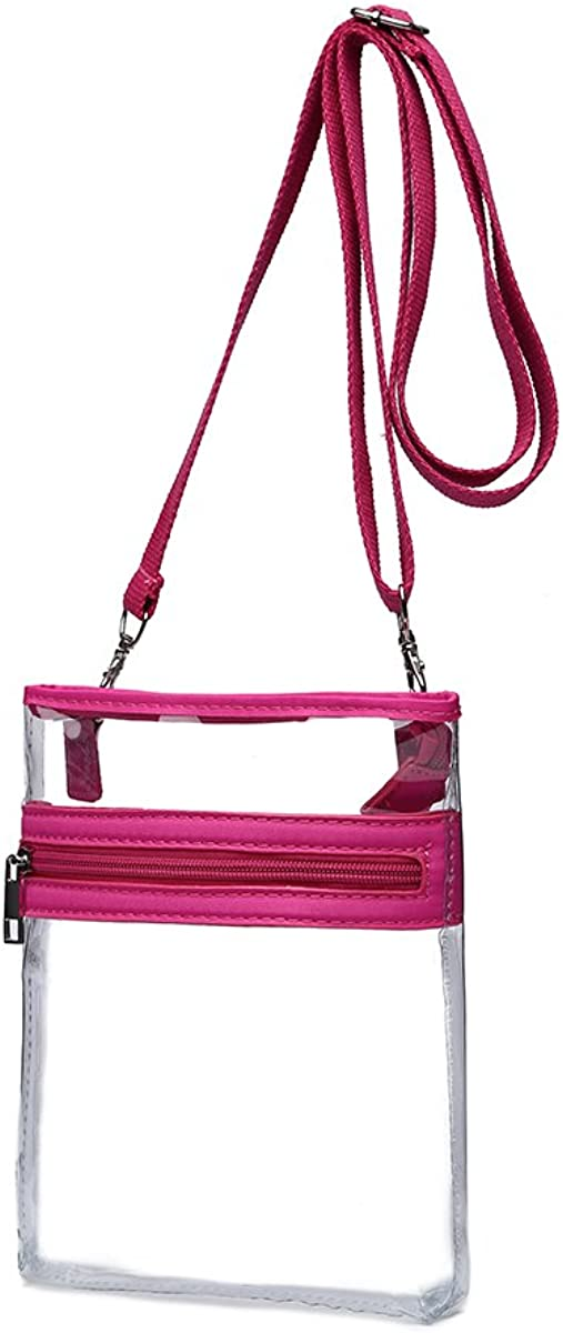 Stadium Approved with Front Zipped Pocket and Adjustable Shoulder Strap Small Clear Messenger Bag