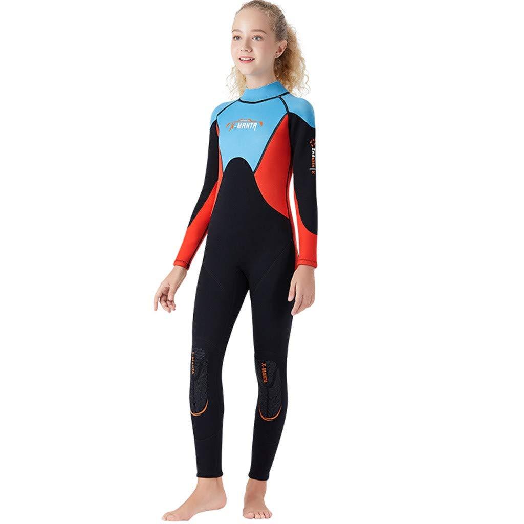 FEDULK Children Youth Wetsuit Scuba One Piece Diving Suit Snorkeling Surfing Sun Protection Sunsuit Swimsuit(Blue, Small)
