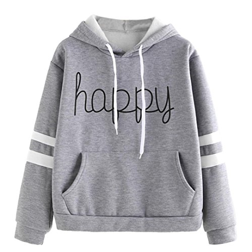 Price comparison product image BCDshop Women Hoodie Sweatshirt Happy Print Long Sleeve Casual Pullover Tops Blouse (M,  Gray)