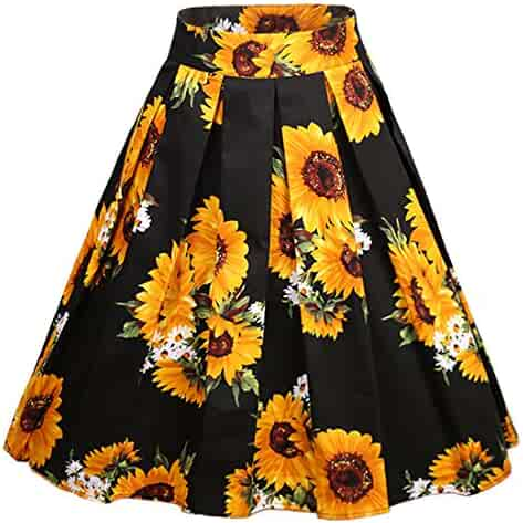 a7b364cba Dressever Women's Vintage A-line Printed Pleated Flared Midi Skirts
