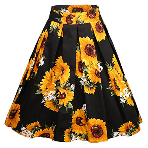 Dress Skirt (Dressever Women's Vintage A-Line Printed Pleated Flared Midi Skirts Sunflower 3X-Large)