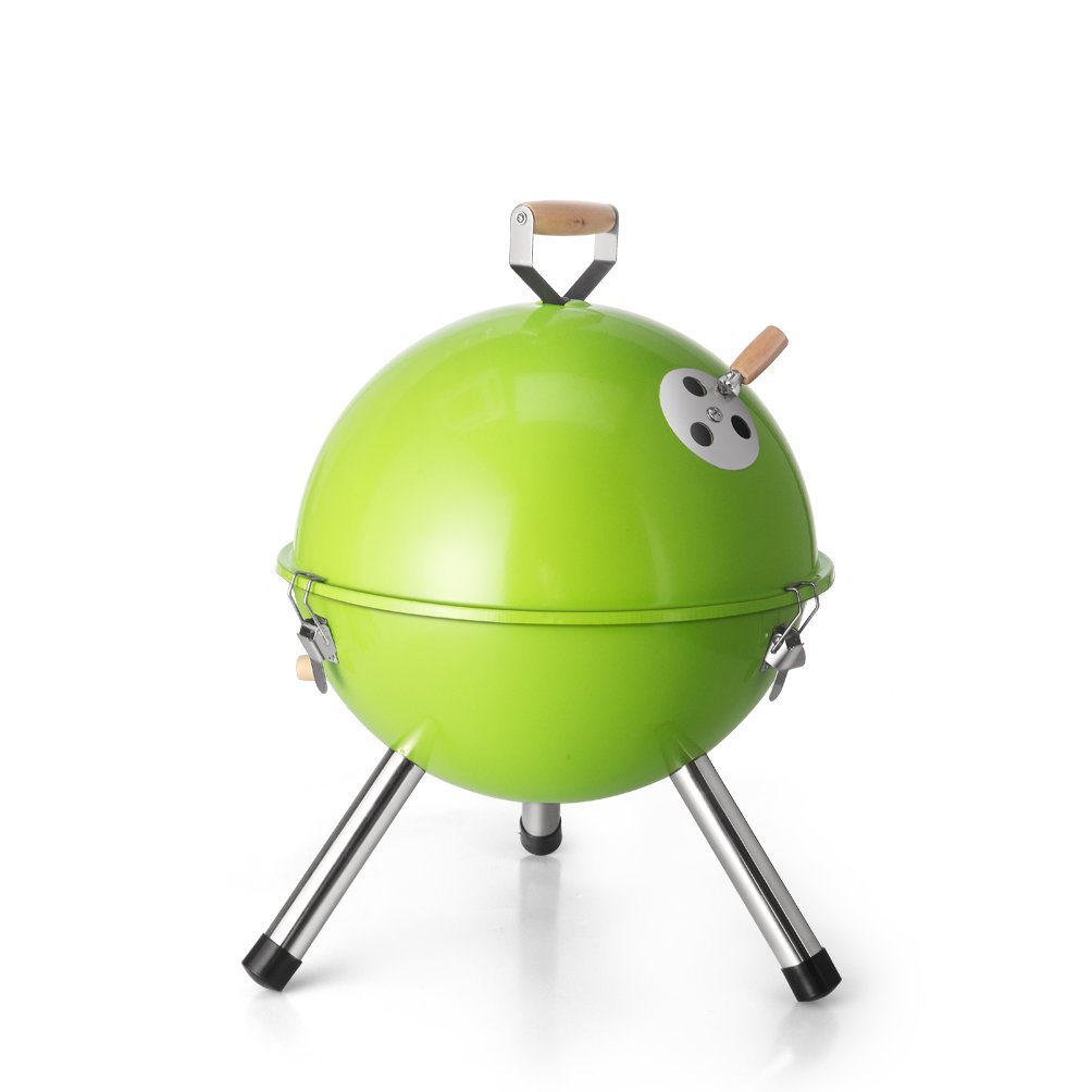 DE.KITCHEN&HIFUN Premium 12Inch BBQ Portable Charcoal Grills,Small Camping Grills for Picnic,Backyard Party or Traveling,Lightweight Candy Color Ball bbq(Green)