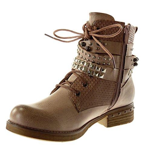 Angkorly Damen Schuhe Stiefeletten - Biker - Reitstiefel Kavalier - Vintage-Stil - String Tanga - Nieten - Besetzt - Geflochten Blockabsatz 3.5 cm Rosa