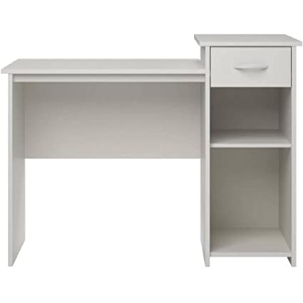 Mainstays Student Desk White Finish - Home Office Bedroom Furniture Indoor  Desk - Easy Glide Accessory Drawer
