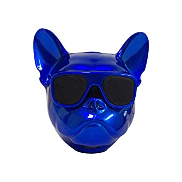 Qiao Nai Altavoz portatil Cabeza Perro Bulldog Frances inalambrico Bluetooth, Tarjeta SD, Pendrive, FM Radio, mp3 (Azul)