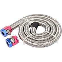 """CarBole 3/8""""x 3' Braided Stainless Sreel Fuel Line Kit with Red/Blue Clamps"""