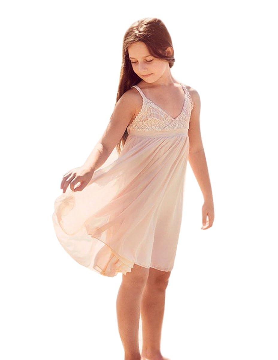 2979e1e57eb Amazon.com  SHENLINQIJ 2018 Lace Chiffon Summer Beach Wedding Flower Girl  Dresses  Clothing