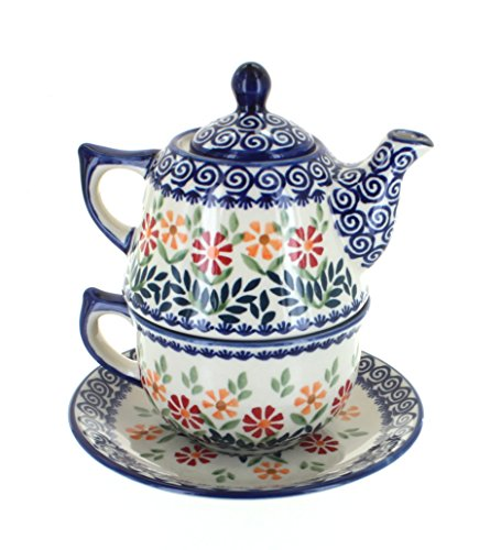 - Blue Rose Polish Pottery Garden Bouquet Tea for One