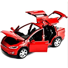ESHINEY Sell 1:32 Scale Car Model X90 Tesla Red alloy diecast Model Car W sound&light Pull Back model Car Toy Cars Kids Toys Collection
