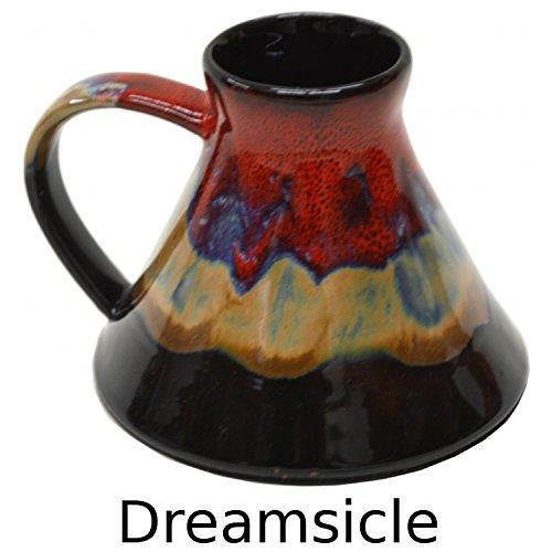 Wide Bottom Travel Mug in Dreamsicle Glaze (Mug Base Coffee Wide Ceramic)