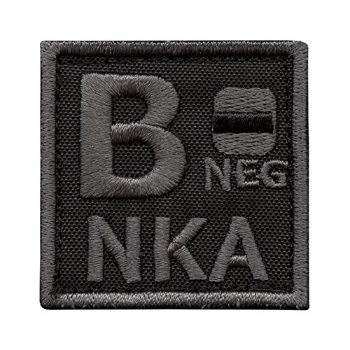 B NEG B- NKA Blood Type Subdued ACU Tactical Morale Embroidery Fastener Patch