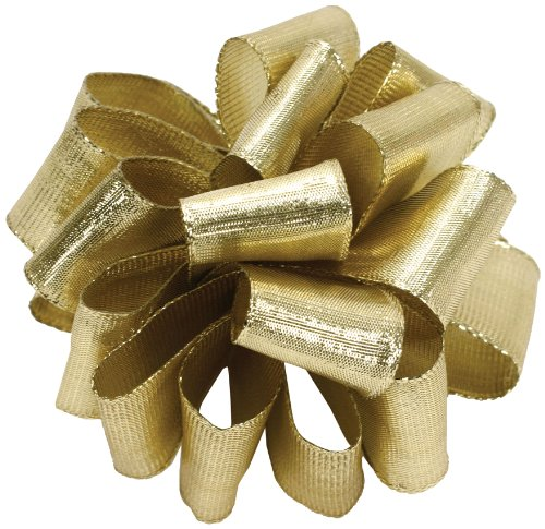 Ribbon Metallic Wired (Offray Wired Edge Metalique Craft Ribbon, 2-1/2-Inch Wide by 25-Yard Spool, Metallic Gold)