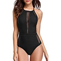 Sociala Halter High Neck One Piece Swimsuit For Women Mesh Bathing Suits L Black