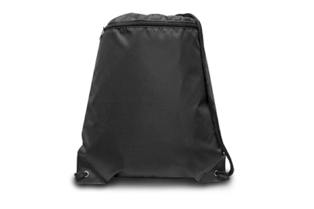 ZIPPER DRAWSTRING BACKPACK, Black, Case of 60 by DollarItemDirect