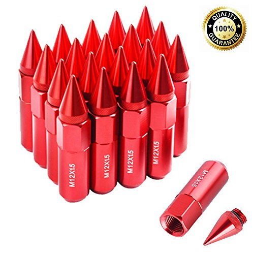 Red Spike - Red Spike Lug Nuts M12X1.5 Extended Tuner 60mm Wheels/Rims For Ford, Buick, Toyota, Mitsubishi, Mazda, Honda, Chevrolet, Hyundai, KIA (20 pcs)
