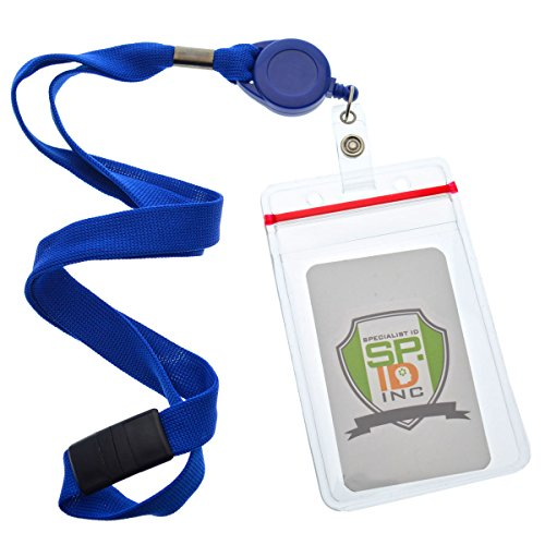 Blue Badge Lock (5 Pack - Premium Lanyards with Retractable Badge Reel and Vertical Heavy Duty Resealable Card Holder by Specialist ID (Royal Blue))