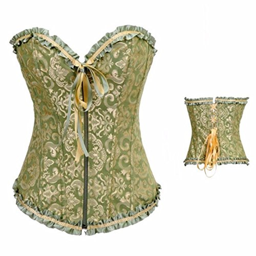 Women's Bowknot Compression Satin Lace Up Corset Green