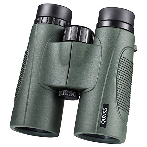 QUNSE 10x42 Binocular, BAK4 & FMC Lightweight HD Waterproof Binoculars with Low Light Night Vision for Birding & Stargazing Come with Phone Adapter, Tripod Mount & Wire Shutter etc (Green) ()