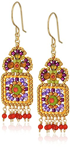 Miguel Ases Small Floral Framed Square Round Wrapped Dangle Multi-Drop - Carnelian Floral Earrings