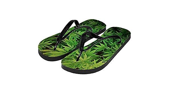 5664b8fb82d93 Amazon.com   Cannabis Weed design custom Full Print Slipper sandals  Flipflop   Sports   Outdoors